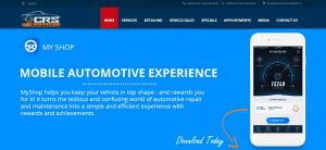 myshop crs automotive homepage Screenshot